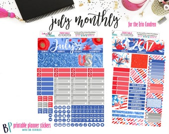 Planner Stickers   4th of July Monthly Kit Printable   for use with Erin Condren   Planner Printable   Printable Planner Stickers   CutLines