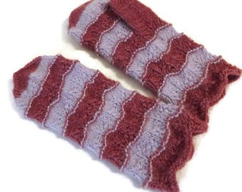 Hand knitted mittens Warm mittens Women mittens Men mittens Lilac color mittens Raspberry rose mittens Wool mittens