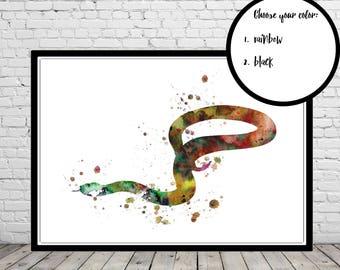 Snake, watercolor snake, snake print, snake art, watercolor snake art print, snake art print, Office Art (3878b)