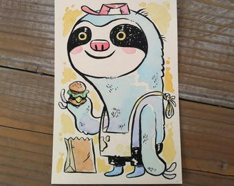 "Original Unframed 4x6"" Ink and Watercolor Painting - Burger Sloth"