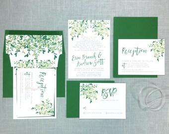 Greenery Wedding Invites - Botanical Invitations - Wedding Invitations Suite
