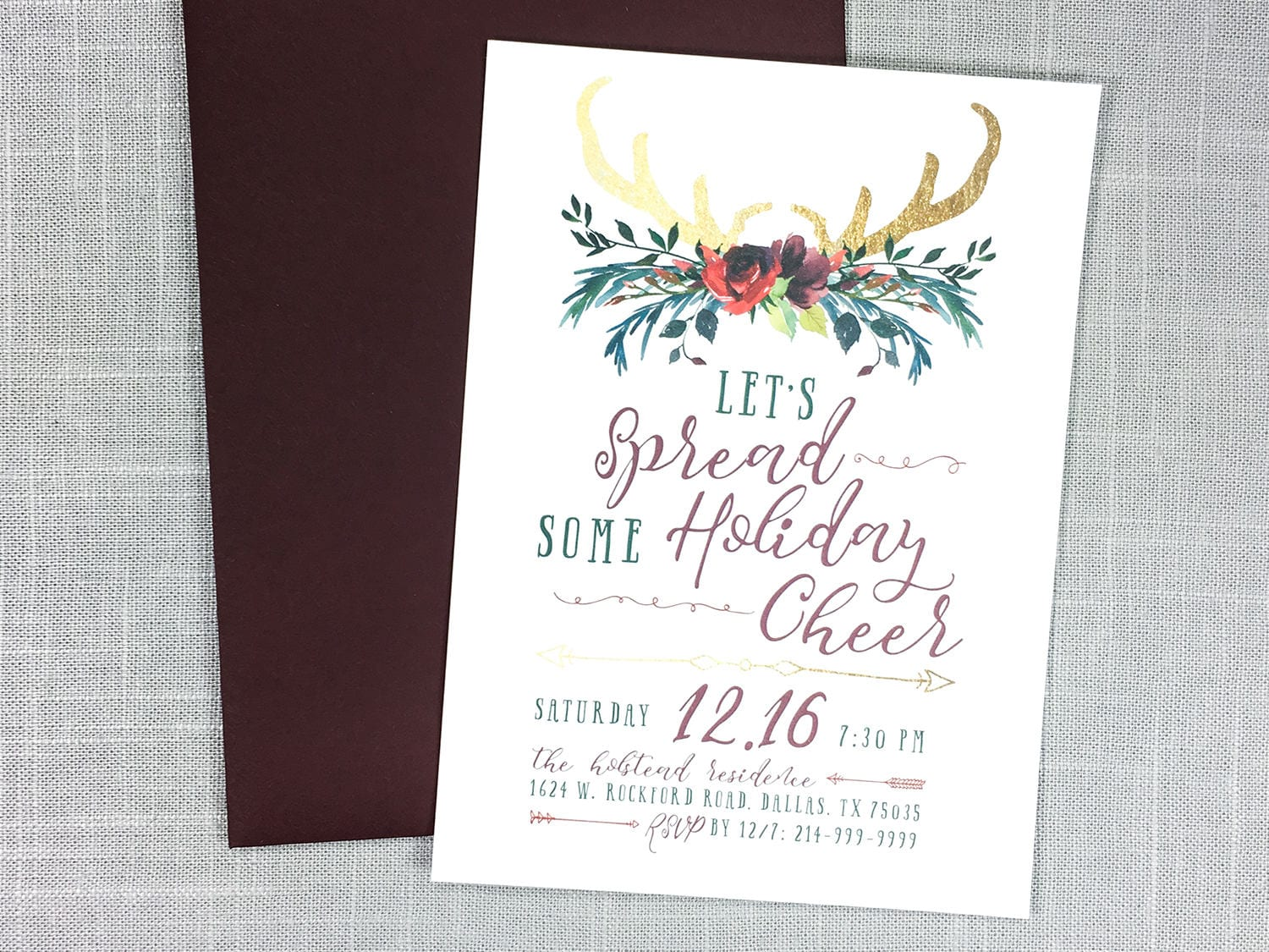 Boho Christmas Invitations, Bohemian Christmas Invitation, Christmas ...