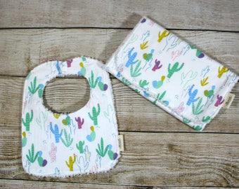 Cactus Desert Baby Bib and Burp Cloth Set, Baby Shower Gift