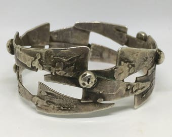 Brutalist Bangle, brutalist bracelet, Vintage Jewellery, 1940's Jewellery, Silver Bangle, Modernist Jewellery, Mid century bracelet
