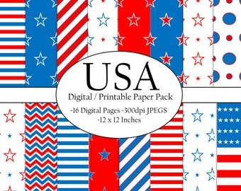Fourth of July digital paper / fourth of July scrapbook paper / Independence Day / 4th of July / Digital paper / scrapbook paper / USA