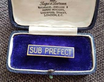 Vintage school SUB PREFECT blue enamel badge pin