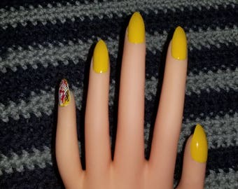 Yellow Nails with Pinky Accent Nail