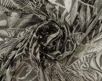 "Leaf Print, Black Fabric, Chiffon Saree, Quilting Fabric, Home Decoration, 42"" Inch Chiffon Fabric By The Yard ZBCH172A"