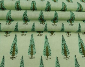 """Tree Print, Dressmaking Fabric, Crafting Material, Green Fabric, Sewing Decor, 48"""" Inch Cotton Fabric By The Yard ZBC8559B"""