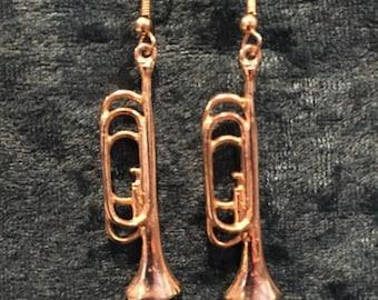 """summer17 Gold-tone Trombone fishwire Earrings - 1&3/4"""" drop - CA 1980's - #1631602"""
