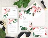 Pink Floral Wedding Invitations Printed - Modern Botanical Wedding Invitation Suite - Elegant Wedding Invitation Pink Floral - Set of 10