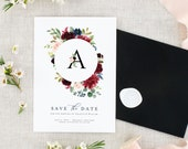 Save the Date Printable - Save the Date Cards - Floral Wedding Save the Date - Fall Wedding Save the Date - Save the Date Wedding Burgundy