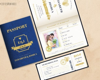 Passport Wedding Invitation Set - Boarding Pass Wedding RSVP - Plane Ticket Wedding - Instant Download