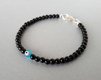 Custom Sterling Silver Black Jasper Evil Eye Bracelet with custom color bead