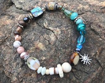 Bracelet, beaded bracelet, stretch bracelet, gemstone bracelet, sterling bracelet, sun charm, glass bracelet, beach bracelet