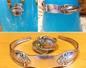 Vintage 2pc WM A Rogers LTD Oneida Spoon cuff Bracelet & Ring Set   1965 Pattern Vanessa Francesca Silver Plated Floral Spoon Ring Bracelet