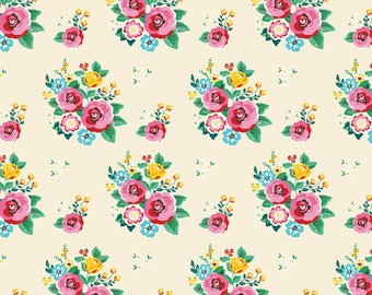 Happiness is Handmade Main Cream - Riley Blake Designs - Floral Flowers - Quilting Cotton Fabric - choose your cut