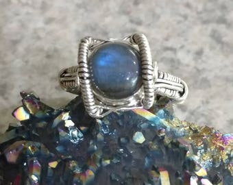 Wire Wrapped Eye Labradorite Ring, Size 7