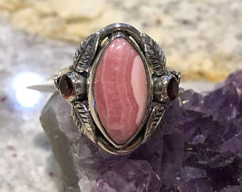 Rhodochrosite and Garnet Ring Size 9