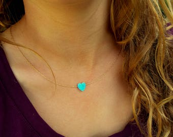 Heart Opal Necklace / Charm Necklace / Gold, Sterling Silver Chain / Tiny One 10mm Opal / Gift For Her / Opal Jewel