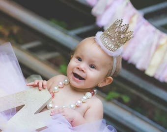 Baby's 1st Birthday Outfit,Regal Lace Crown, Milestone Lace Crown, Crown Headband, Gold Crown, Milestone Birthday Prop,Baby and Infant Crown