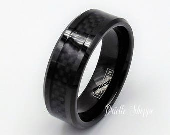 tungsten ring mens tungsten wedding band mens black wedding band black tungsten ring - Carbon Fiber Wedding Rings