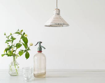 Hanging lamp ' white '-lamp-hanging lamp-accessory-living-interior-metal-wood-fabric