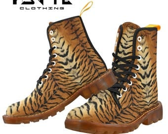Golden Tiger print Festival boots, Burning man boots, Dr Marten style boots, Combat boots, Ladies and Mens Festival shoes and boots,