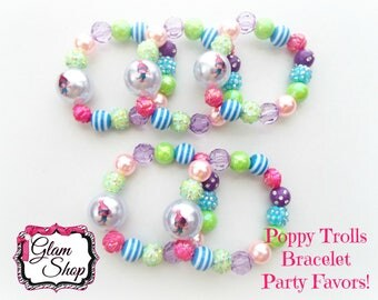 Trolls Party Favors - Trolls Bracelets Set of 5 with Organza Bags! Poppy Trolls Birthday Party! Mix Bracelet Bead Styles as pictured