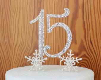Sweet 15 Quinceanera Number Cake topper. Rhinestone Sweet 16 cake decoration. Bling snowflake cake picks. crystal butterfly