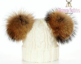 Kids/Toddler double fur pom pom hat-Genuine Fur pom pom Girls Winter white/beige knit hat. fits 1-4 years old