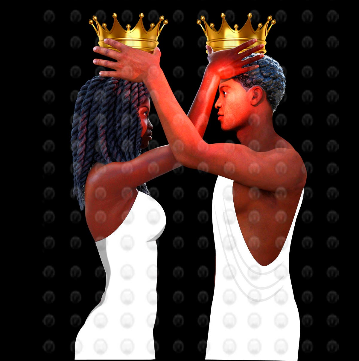 Black love art black couple crown me by african for Pictures of black lovers