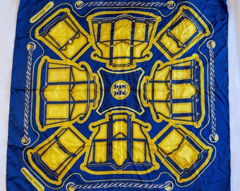 Hermès Vintage Silk Scarf/ Les Berlines Blue Yellow Geometric Carriage Motif/ 1970s Carre by Françoise de la Perrière/ I.Magnin & Co./France