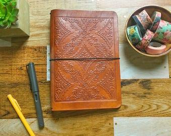WIDE TRAVELERS NOTEBOOK - Diamond Fourish Embossing - Large Moleskine Embossed Leather Fauxdori - Midori Style Travelers Notebook - Embossed