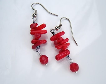 Bright red coral earrings, Carnelian