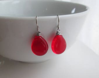 Ruby Red Earrings, Stainless Steel Earrings, Red Drop Earrings, Red Dangle Earring, Red Czech Glass, Hypoallergenic Earrings, SImple Earring