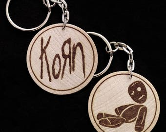Korn Hand Made Double Sided Laser Engraved Wood Keyring Keychain by JayEngrave