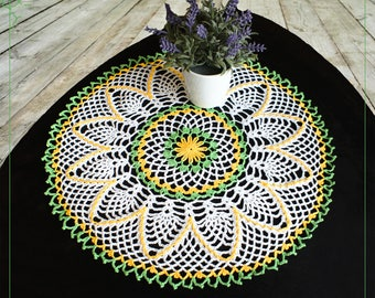 Crochet doily, lace doily handmade, green-yellow doily, 14.57 in.