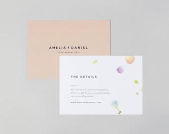 Amelia Wedding Information Card / Floral Wedding Information Insert / Watercolour Wedding Information Card
