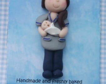 Personalised midwife /nurse brooch pin by Hot Dough Creations