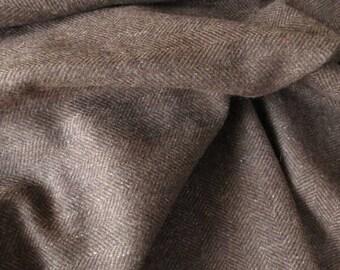 Brown Tweed Wool Fabric By The Yard