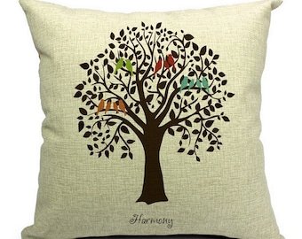 Birds of Harmony Pillow Cover 18x18""