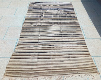 Moroccan vintage blanket, Berber Blanket, Striped wool throw, Berber throw, Berber haik, Berber shawl.
