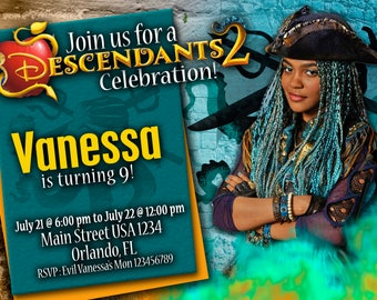 Birthday Invitation Disney Descendants 2 UMA - We deliver your order in record time!, less than 4 hour! Best Value. Descendants 2 Party