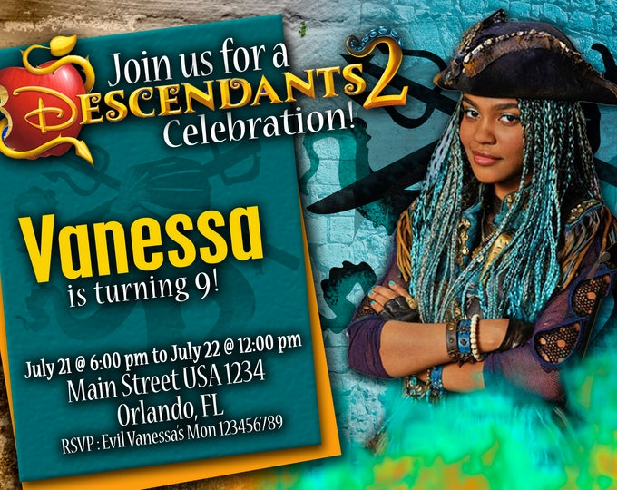 Birthday Invitation Disney Descendants 2 UMA
