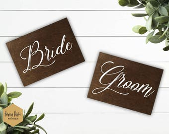 Bride and Groom, wood signs, handmade wedding decor, stained wood decor, wedding table decor, head table signage, marriage ceremony