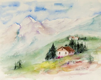 Original watercolor of a cottage in the French Alps, original painting of a log cabin lost in the mountain.