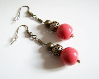 Earrings coral and bronze Pearl