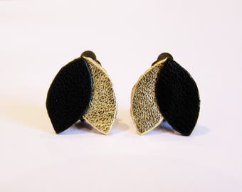Leather black and gold clip earrings