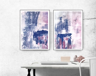 Scandinavian abstract, Printable Art, Art Poster, modern abstract, Industrial Decor, indigo, white, pink, light pink, large print, navy blue